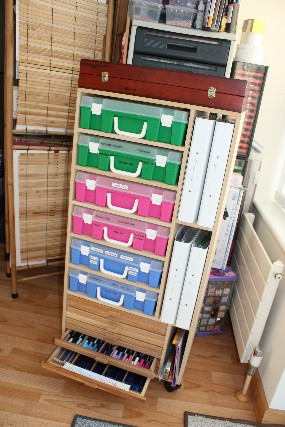 Husband made storage for pens inks pencils and clear stamps in folders